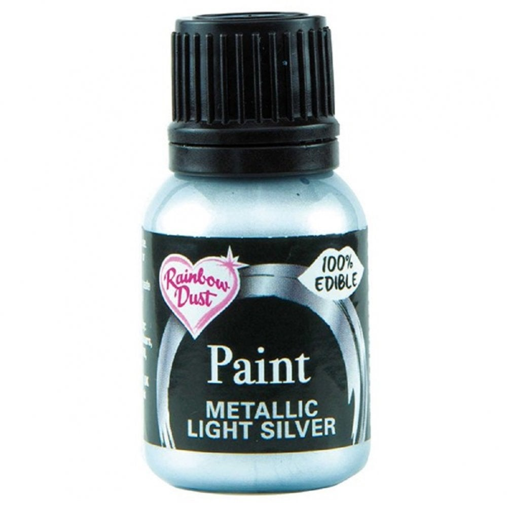 View the METALLIC LIGHT SILVER edible icing paint 25ml online at Cake Stuff