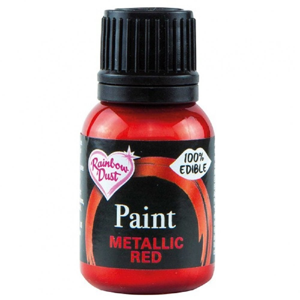 View the RED metallic edible icing paint 25ml online at Cake Stuff