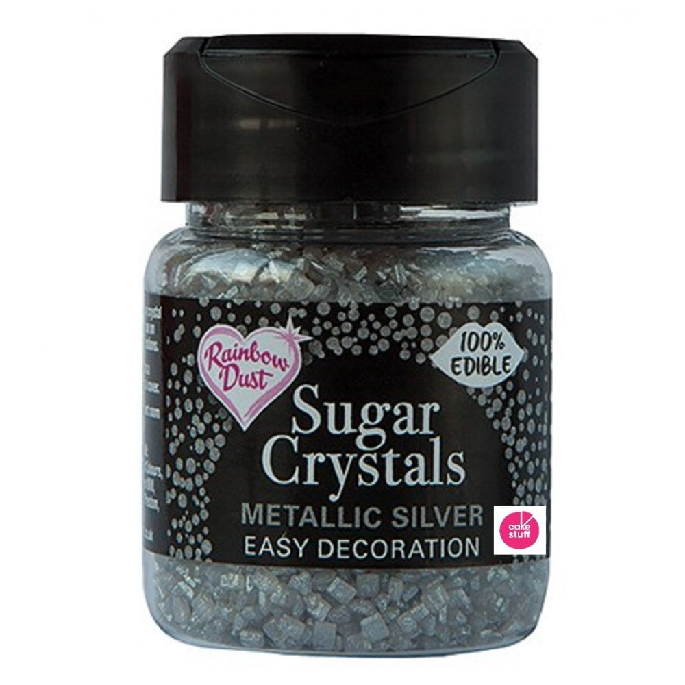 View the SILVER Sugar Crystals metallic sparkling 100% edible sprinkles 50g online at Cake Stuff