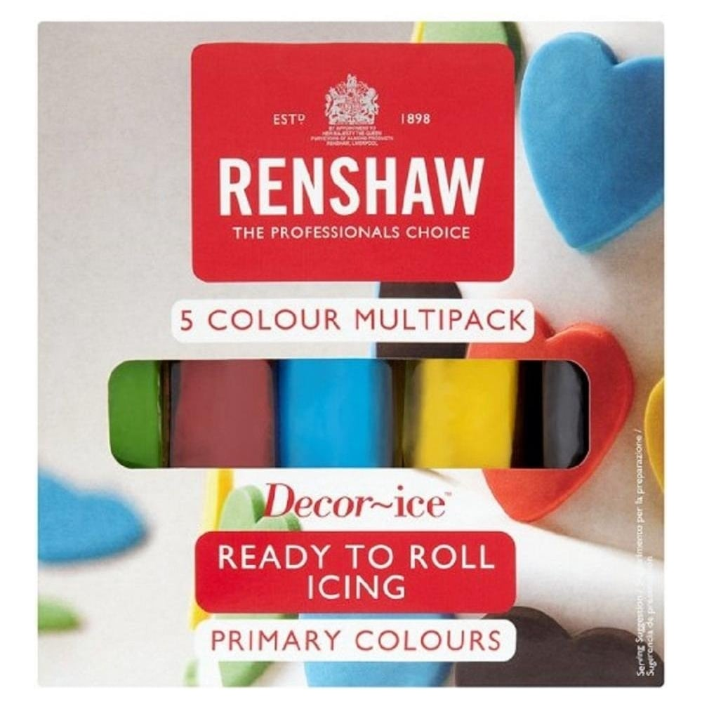 View the 5 PRIMARY COLOURS multipack Regalice Decor-Ice sugarpaste ready to roll icing online at Cake Stuff