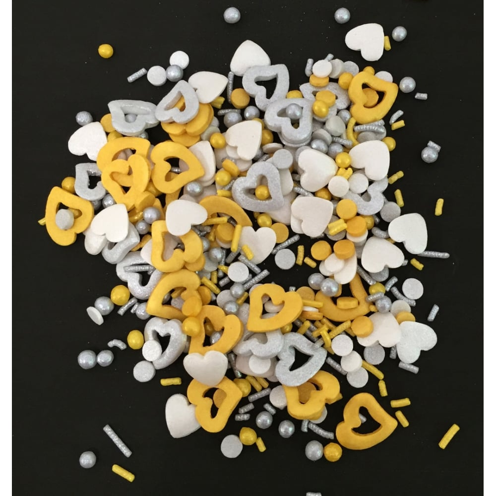 View the CHARM MIX edible confetti & cupcake sprinkles 100g online at Cake Stuff