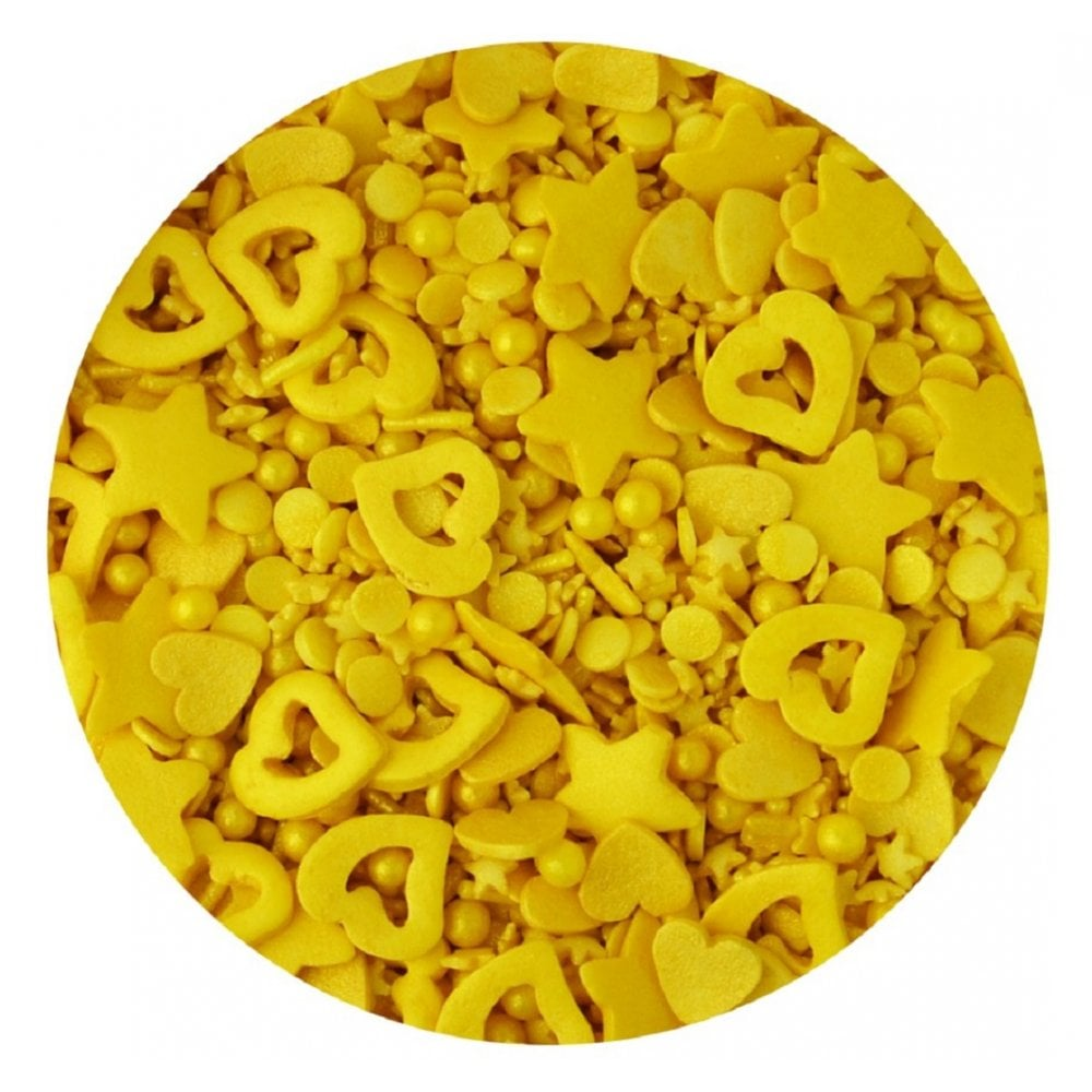 View the GOLD MIX edible confetti & cupcake sprinkles 100g online at Cake Stuff