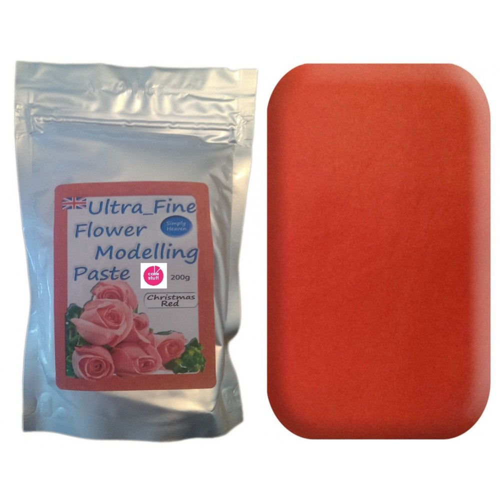 View the 200g CHRISTMAS RED Ultra Fine Sugar Flower Modelling Paste online at Cake Stuff