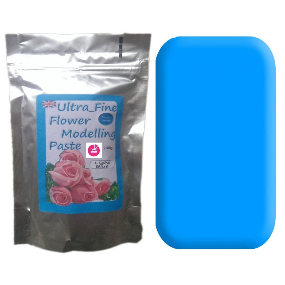 View the 200g LIGHT BLUE Ultra Fine Sugar Flower Modelling Paste online at Cake Stuff
