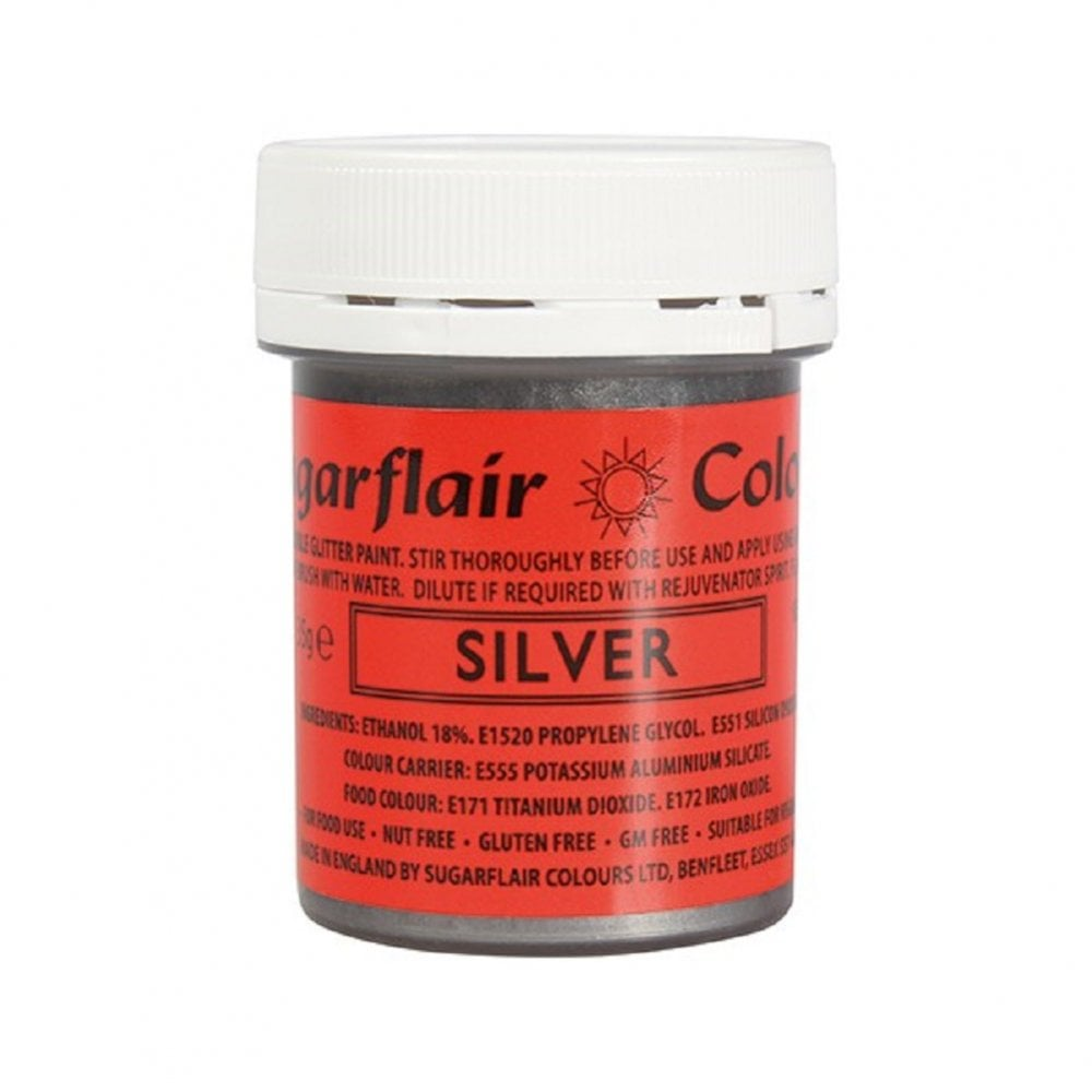 View the SILVER edible glitter paint liquid icing colouring 35g online at Cake Stuff