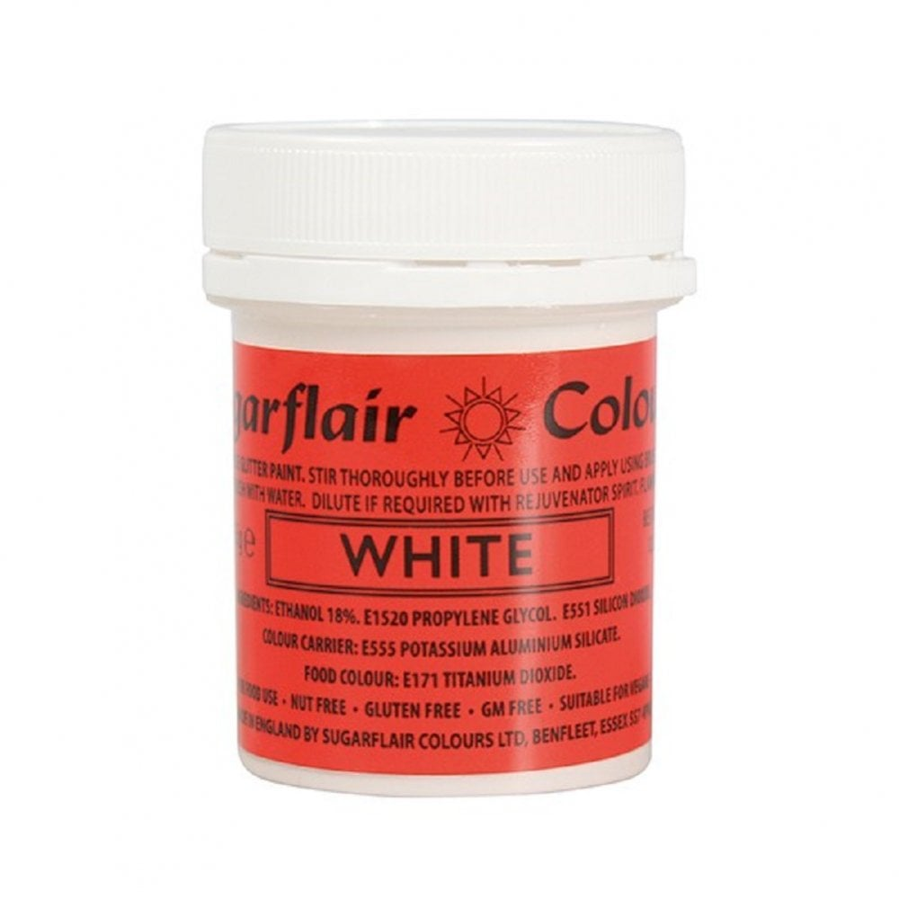 View the WHITE edible glitter paint liquid icing colouring 35g online at Cake Stuff