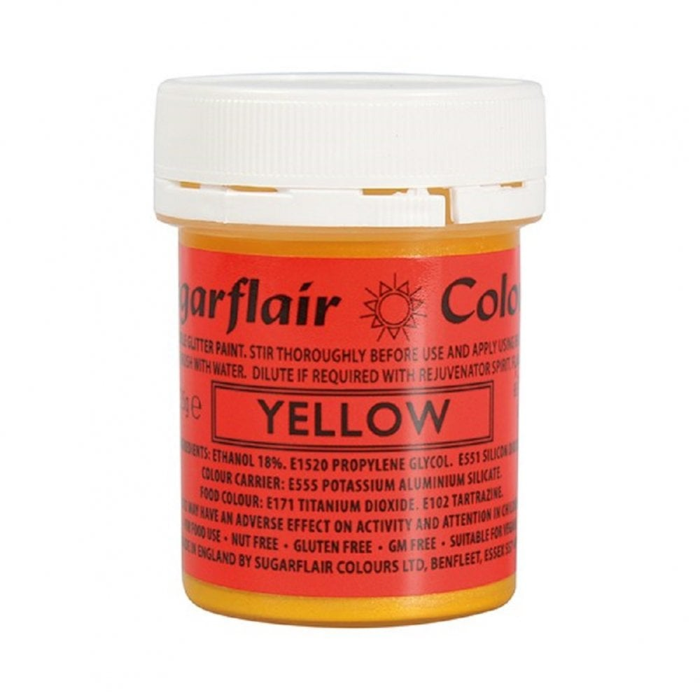 View the YELLOW edible glitter paint liquid icing colouring 35g online at Cake Stuff