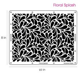 View the FLORAL SPLASH professional cake icing stencil online at Cake Stuff