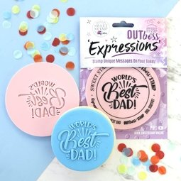 View the FUN WORLD'S BEST DAD OUTboss Paint Your Own Expressions icing embosser stamp online at Cake Stuff