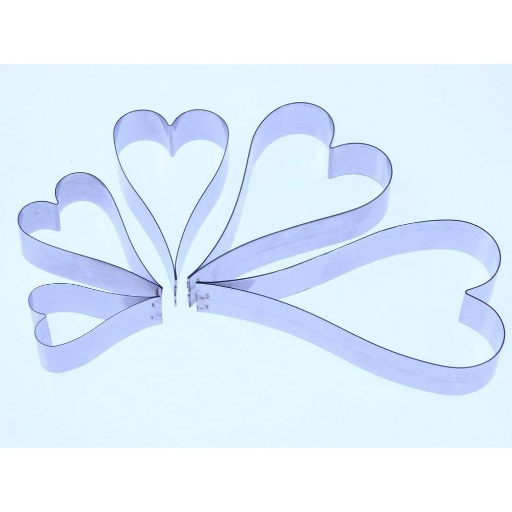 View the 5 pc ELONGATED HEART stainless steel icing cutter set online at Cake Stuff