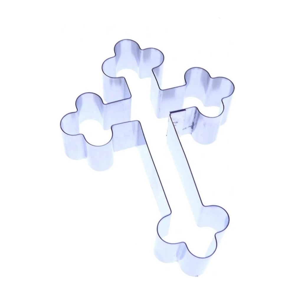 View the large 80mm ORNATE CROSS stainless steel icing cutter online at Cake Stuff