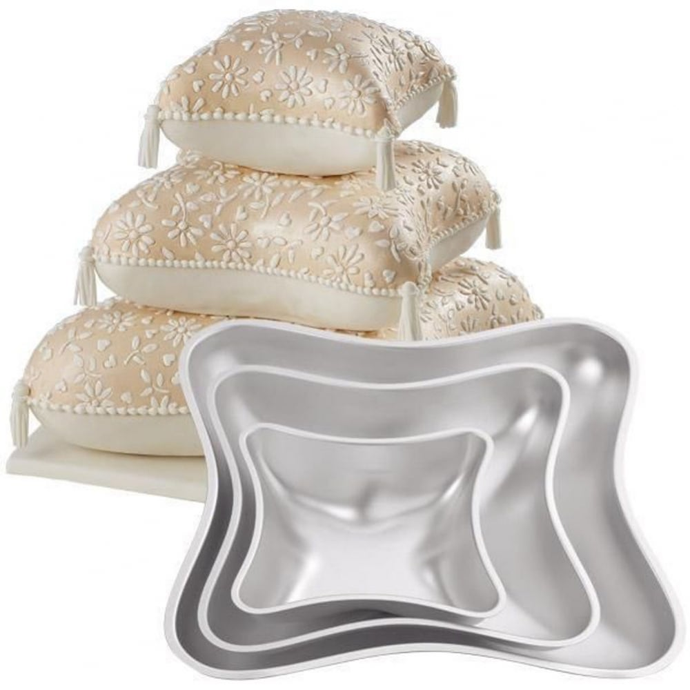 View the set of 3 Pillow 3D cushion cake tins / pans online at Cake Stuff